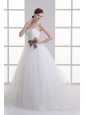A-line Sweetheart Sash Ruching Tulle Wedding Dress