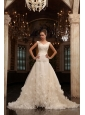 A-Line V-Neck Court Train Ruching Zipper Up Tulle Wedding Dress