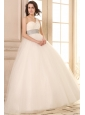 Ball Gown One Shoulder Beaded Decorate Waist Tulle Wedding Dress