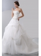Ball Gown Strapless Beading Zipper Up Organza Wedding Dress