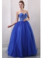 Beaded Decorate Sweetheart Royal Blue Quinceanera Dress with Ruche