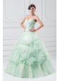Beading and Hand Made Flowers Sweetheart Organza Quinceanera Dress