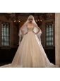 Champagne Ball Gown Sweetheart Hand Made Flower Tulle Wedding Dress