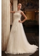 Column Halter Beading Brush Train Organza Wedding Dress