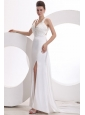 Column Halter Beading Taffeta Wedding Dress with Court Train
