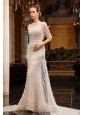 Column High Neck Zipper Up Tulle Wedding Dress with Half Sleeves