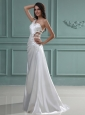Column One Shoulder Floor-length Beading Taffeta Wedding Dress with Side Zipper