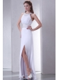 Column Scoop Criss Cross Chiffon Wedding Dress with Beading
