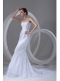 Column Strapless Appliques Court Train Organza Wedding Dress