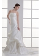 Column Strapless Pick-ups Ruching Satin Court Train Wedding Dress
