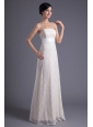Column Strapless White Lace Belt Floor-length Wedding Dress