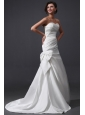 Column Sweetheart Brush Train Bowknot and Ruching Wedding Dress