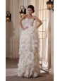 Column Sweetheart Chiffon Floor-length Ruffles Wedding Dress