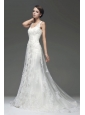 Column V-Neck Appliques Zipper Up Wedding Dress with Court Train
