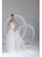 Court Train A-Line Sweetheart Organza Wedding Dress with Embroidery and Pick-ups