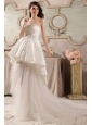Cute A-Line Strapless Beading Tulle Wedding Dress with Court Train