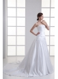 Elegant A-Line Strapless Lace Taffeta Chapel Train Wedding Dress