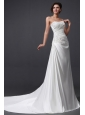 Elegant Column Strapless Ruching and Appliques Wedding Dress with Court Train