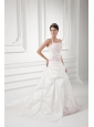 Elegant Halter Top Court Train Wedding Dress with Embroidery and Pick-ups