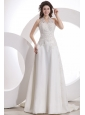 Halter Top Neck Empire Court Train Wedding Dress with Appliques