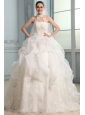 Halter Top Neck Organza Ball Gown Wedding Dress with Applique