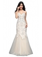 Mermaid  Halter Floor-length Tulle Criss Cross Wedding Dress