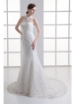 Mermaid Halter Top Lace Court Train Wedding Dress