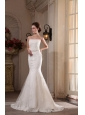Mermaid Lace Strapless Brush Train Appliques Wedding Dress