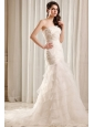 Mermaid Strapless Beading and Ruffles Layered Organza Wedding Dress