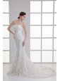 Mermaid Strapless Beading Lace Court Train Wedding Dress