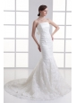 Mermaid Strapless Court Train Wedding Dress with Zipper Up