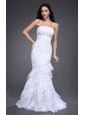 Mermaid Strapless Side Zipper Beading and Ruching Wedding Dress