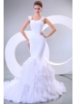 Mermaid Straps Ruffles Organza Chapel Train Wedding Dress