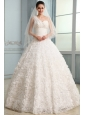 One Shoulder A-line Brush Train Wedding Dress with Beading and Ruffles