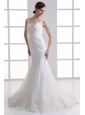 Popular Mermaid Straps Appliques Zipper Up Organza Wedding Dress