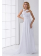 Pretty Empire Asymmetrical Neck Court Train Wedding Dress with Flower