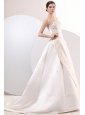 Princess Strapless Court Train Satin Champagne Wedding Dress with Embroidery
