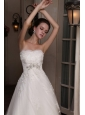 Romantic A-Line Strapless Appliques Chapel Train Tulle Wedding Dress