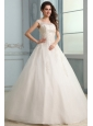 Scoop Ball Gown Appliques and Beading Floor-length Wedding Dress