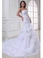 Strapless Beading and Ruffles Layered Organza Wedding Dress
