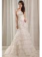 Strapless Mermaid Embroidery and Ruffles Court Train Wedding Dress