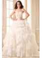 Sweetheart Ball Gown Appliques with Beading and Ruffles Wedding Dress