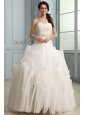Sweetheart Beaded Decorate Waist Organza Wedding Dress with Ruffles