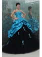Teal and Black Sweetheart Appliques Full Length Quinceanera Dress