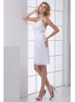 White One Shoulder Wedding Dress with Beading and Ruches