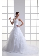 A-line Halter Top Appliques and Ruching Court Train Wedding Dress