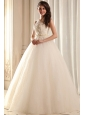A-line Ivory Halter Top Appliques Floor-length Organza Wedding Dress