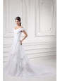 A-line Off The Shoulder Appliques and Pick-ups Wedding Dress