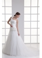 A-line One Shoulder Appliques Ruching Court  Train Wedding Dress