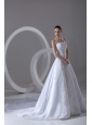 A-line Strapless Appliques Cathedral Train Satin Wedding Dress